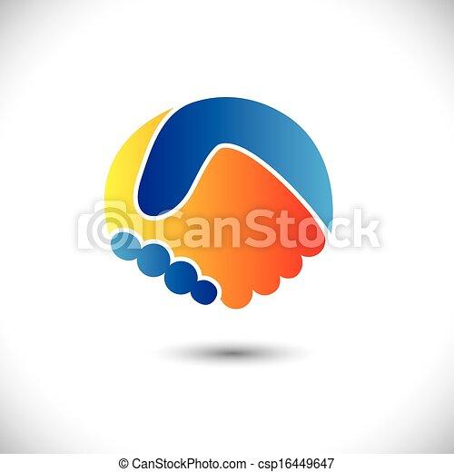 przedstawiać, pojęcie, ludzie, shake., współudział, &, -, gesty, również, jedność, nowy, przyjaźń, handlowa ilustracja, ręka, przyjaciele, ikona, graficzny, to, powitanie, ufność, etc, wektor, może, albo - csp16449647