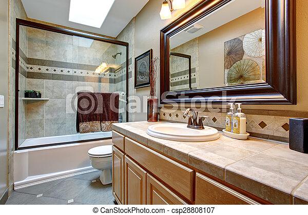 Przelotny Deszcz łazienka Elegancki Ułożony Duże Szkło Lustro