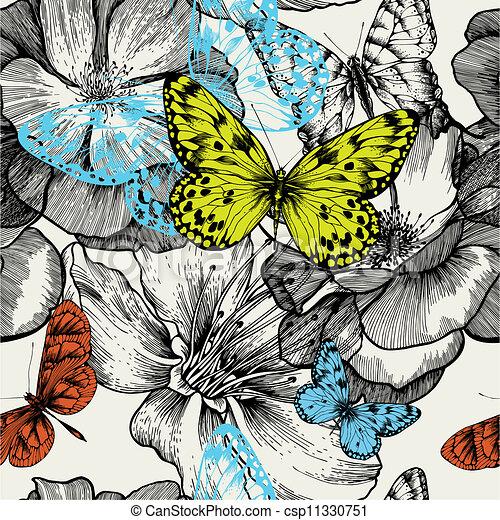przelotny, illustration., drawing., próbka, motyle, seamless, ręka, róże, wektor, rozkwiecony - csp11330751