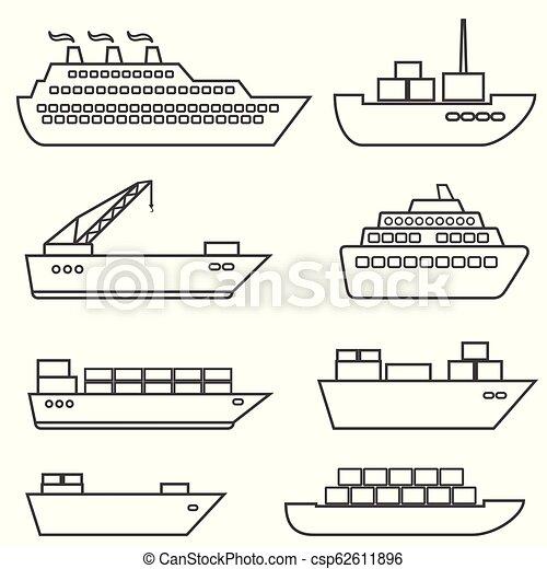 przewóz, ładunek, ikony, okrętowy, łódki, statki, kreska, logisty - csp62611896