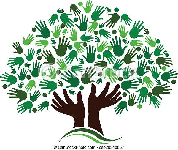 przyjaźń, połączenie, drzewo, image. - csp20348857