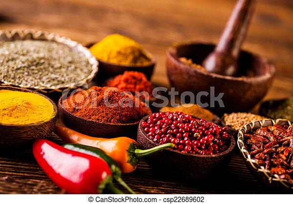 przyprawa, drewniany, indonezyjczyk, orientalny, puchary - csp22689602