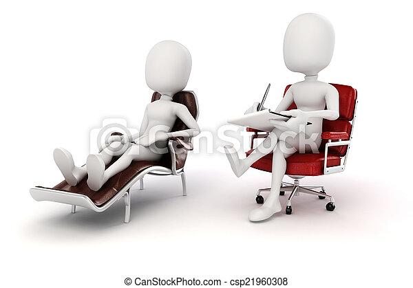 pshychiatrist, 3d, paciente, homem - csp21960308