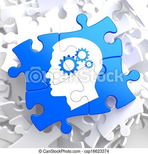 psicológico, azul, conceito, puzzle. - csp16623374