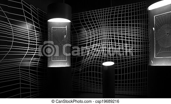 Psychedelic black and white wall. - csp19689216