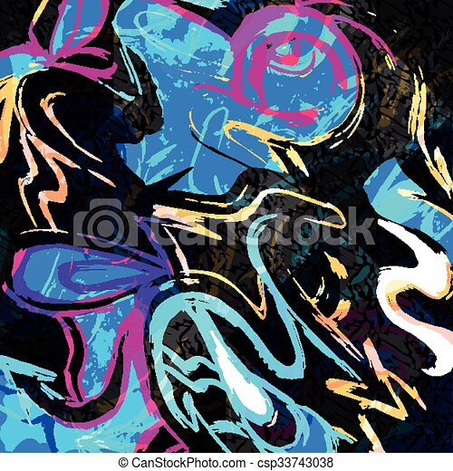psychedelic colored graffiti pattern vector illustration - csp33743038
