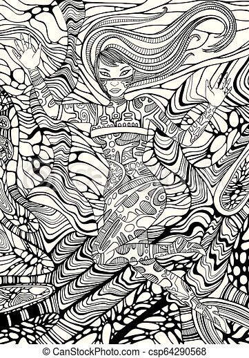 Psychedelic Cyberpunk Girl Adult Coloring Page Line Art Doodle Style Background Vector Hand Drawn Antistress Fantasy Canstock