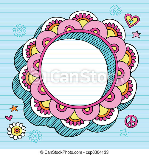 Psychedelic Doodle Picture Frame - csp8304133