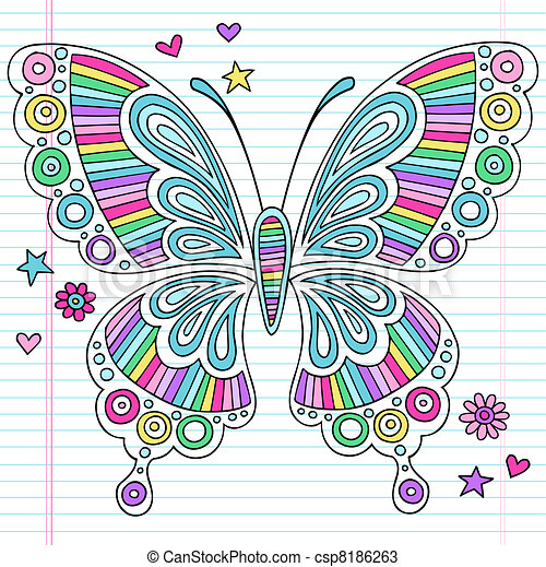 Psychedelic Doodles Butterfly - csp8186263