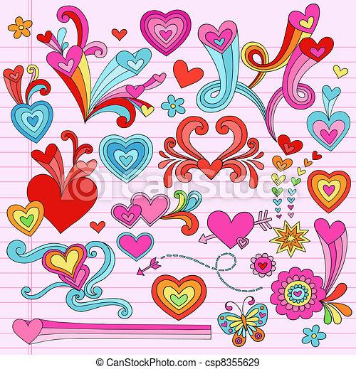 Psychedelic Heart Doodles Vectors - csp8355629