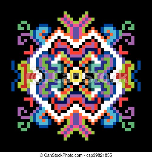 Psychedelic Mandala Of The Pixels On A Black Background