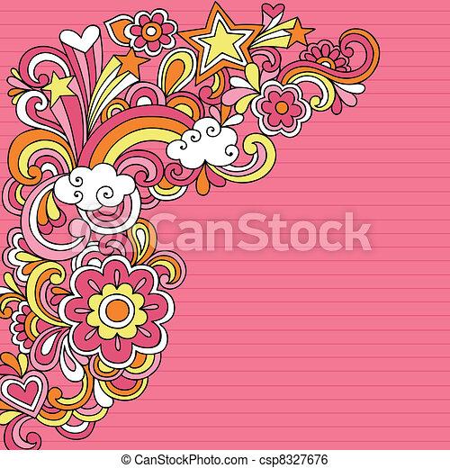 Psychedelic Notebook Doodles Vector - csp8327676