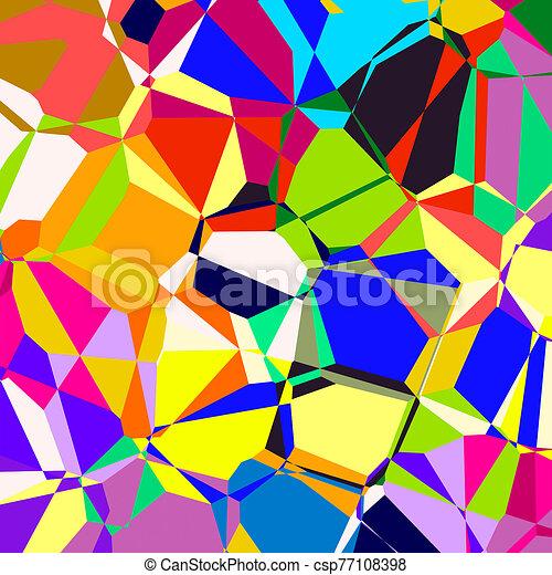 Psychedelic Retro Geometric Polygon Background - csp77108398