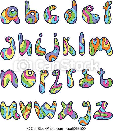 Alphabet Psychédélique psychedelic small letters.