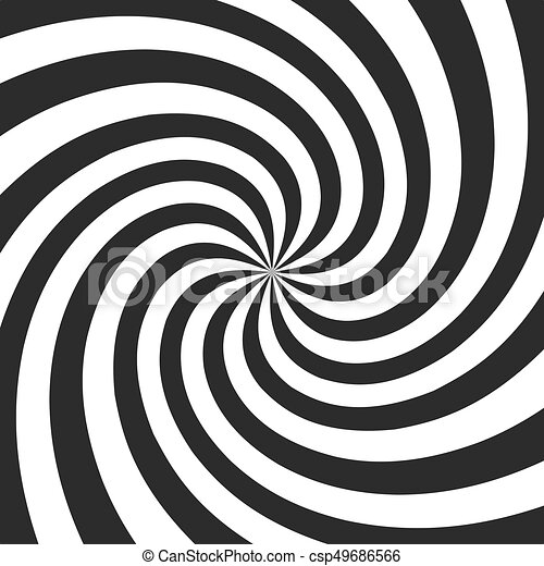 Psychedelic spiral with radial gray rays. Swirl twisted retro background. Comic effect vector illustration - csp49686566
