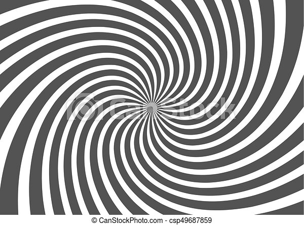 Psychedelic spiral with radial gray rays. Swirl twisted retro background. Comic effect vector illustration - csp49687859