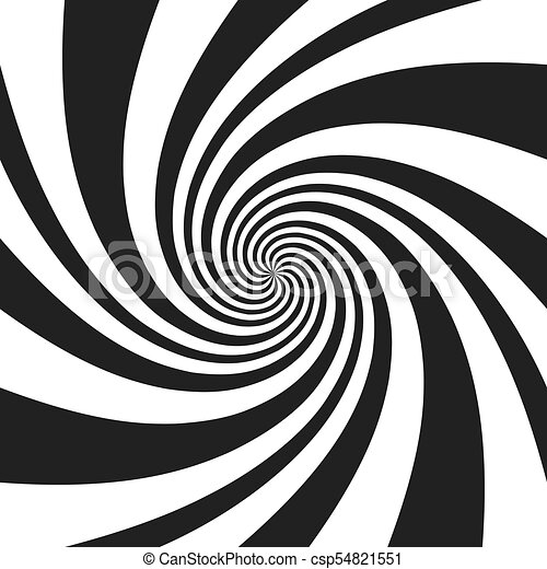 Psychedelic spiral with radial gray rays. Swirl twisted retro background. Comic effect vector illustration - csp54821551