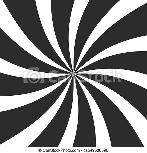 Psychedelic spiral with radial gray rays. Swirl twisted retro background. Comic effect vector illustration - csp49686596
