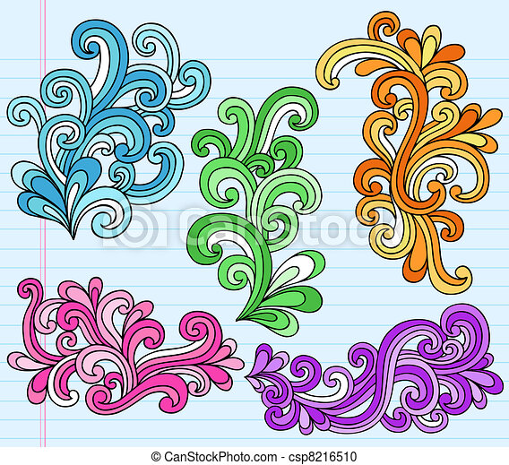 Psychedelic Swirly Doodles Vector - csp8216510