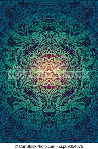 Psychedelic Trippy Colorful Fractal Mandala Gradient Yellow