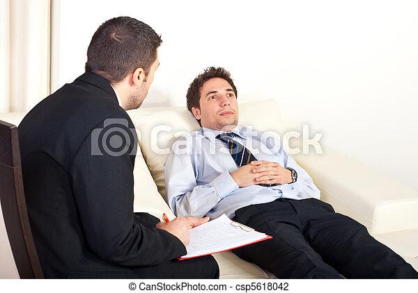 Psychiatrist with male patient - csp5618042