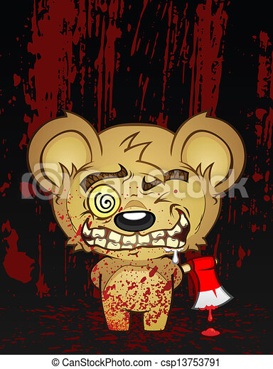 Psycho Teddy Bear Cartoon Character - csp13753791