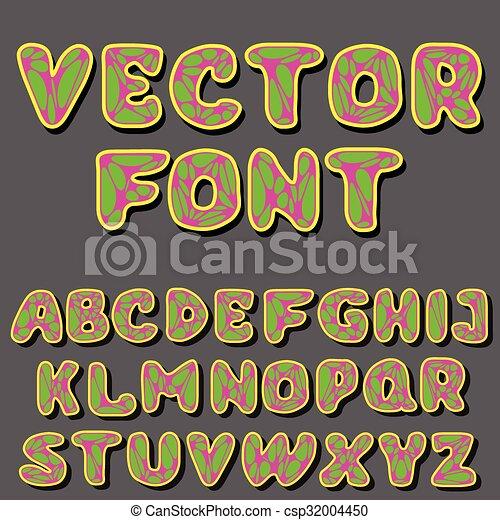 El alfabeto psicodélico Vector - csp32004450