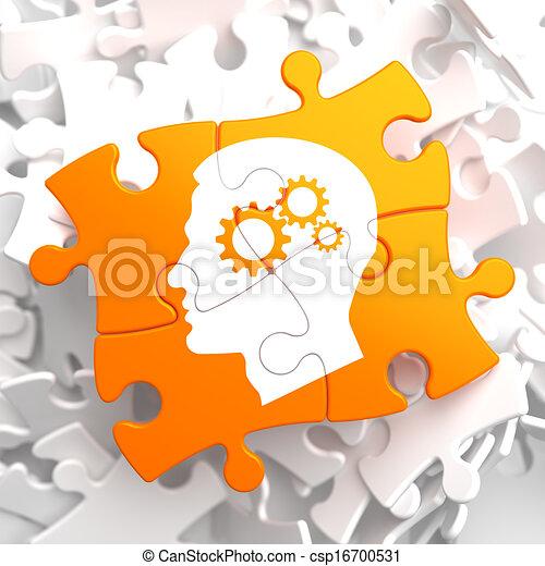 Psychological Concept on Orange Puzzle. - csp16700531