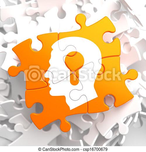 Psychological Concept on Orange Puzzle. - csp16700679