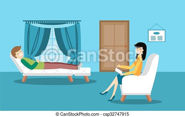 Psychologist Office Cabinet Room Vector Illustration Psychologist