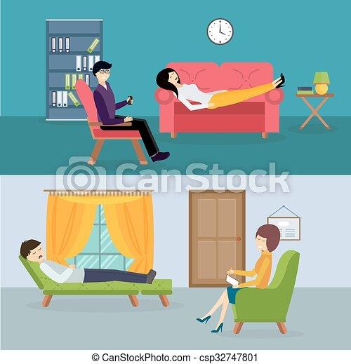 Psychologist office cabinet room vector illustration - csp32747801