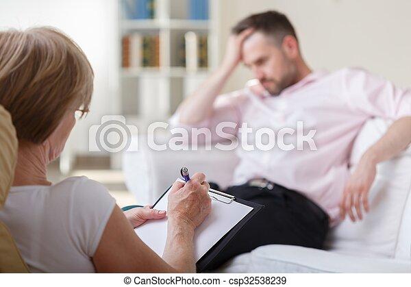 psychologue, patient, écoute - csp32538239