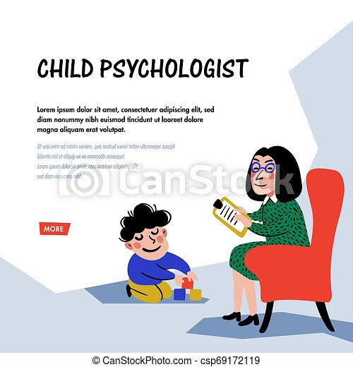 Psychology. Child psychologist. Woman Psychologist tests the child. Preparation for school. Doodle style flat vector illustration - csp69172119