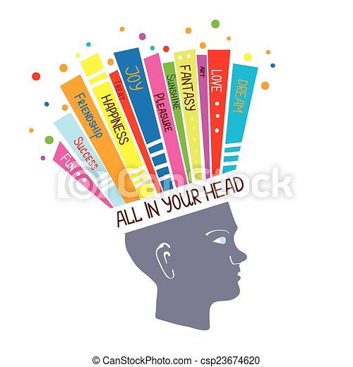 Psychology concept with optimistic feelings and positive thinking illustration - csp23674620