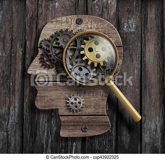 Psychology or invent concept. Brain function model. - csp43922325