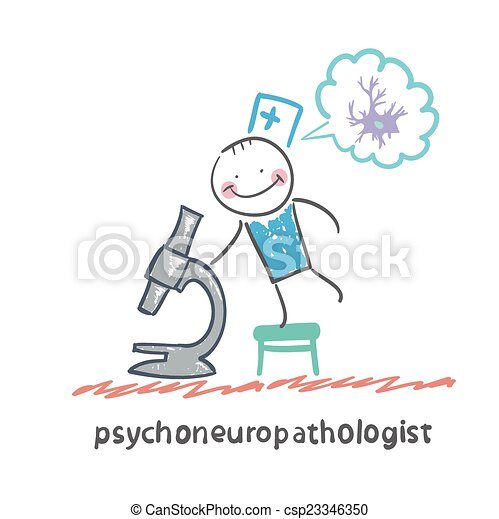 psychoneuropathologist  looking through a microscope and thinks of nerve cells - csp23346350