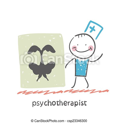 psychotherapist  shows a picture test - csp23346300