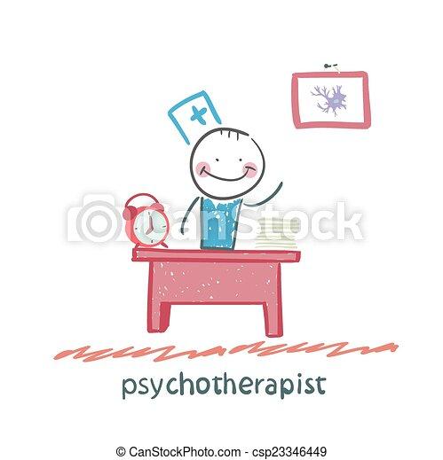psychotherapist  working in his office - csp23346449