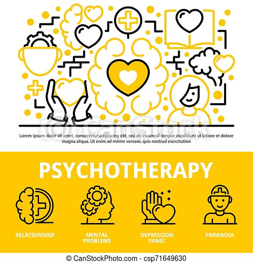 Psychotherapy concept background, outline style - csp71649630