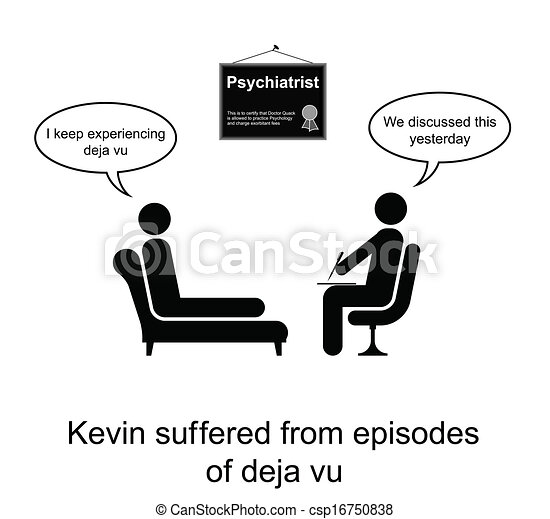 Psychotherapy Humour Kevin And His Poor Memory Cartoon Isolated On