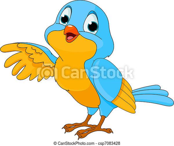 ptáček, šikovný, karikatura - csp7083428