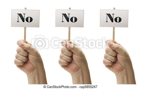 Tres señales en puños diciendo no, no y no - csp5855247