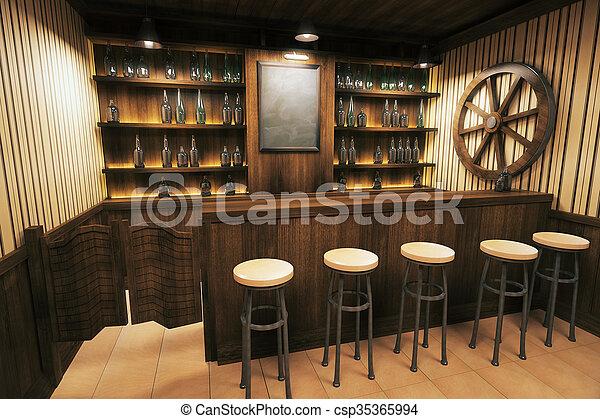 Pub interior side - csp35365994