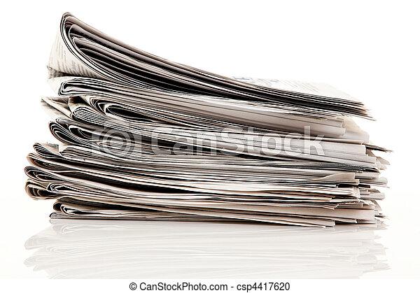 pubblicazione periodica, giornali, vecchio, accatastare - csp4417620