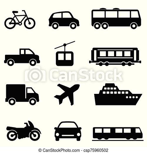 Public, air, land, sea transportation icons - csp75960502
