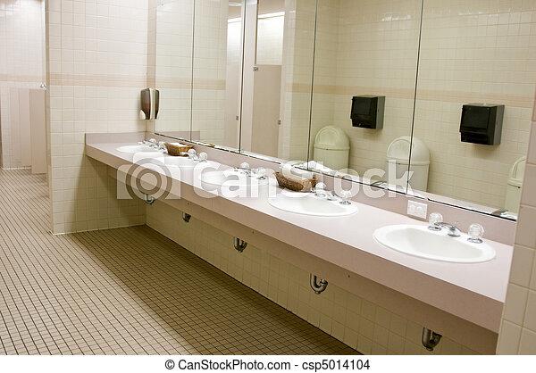 Public Bathroom Sink Throughout Public Bathroom Csp5014104 Bathroom Perspective Shot Of Countertop With Five Sinks