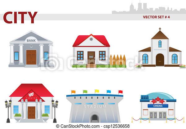 Public building. set 4. Public building cartoon. set 4 ...