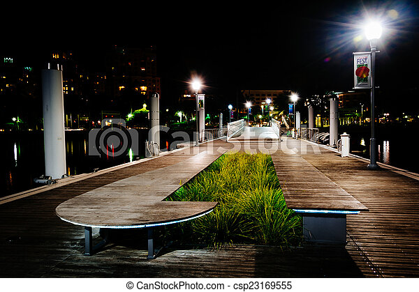 Public dock at night, in West Palm Beach, Florida. - csp23169555