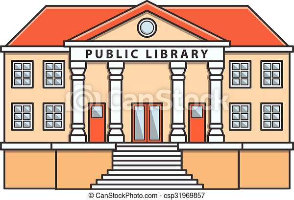 public library vector doodle illustration cartoon rh canstockphoto com library clipart images library clipart