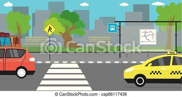 public, route, vie, rue vide, transport, ville, arrêt, urbain, concept - csp66117436